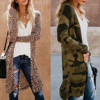 Link to Spring And Autumn Fashion Camouflage Cardigan Women's Long Windbreaker Coat Similar Items in Women's Outerwear