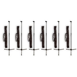 Podium Pro MS2 Adjustable Steel Microphone Stands with Stand Bags and Mic Clips 6 Stand Set MS2SET7-6S