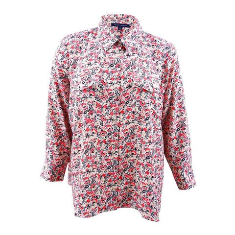 Tommy Hilfiger Women's Plus Size Flower-Print Shirt (2X, White/Black/Chili) - White/Black/Chili - 2X