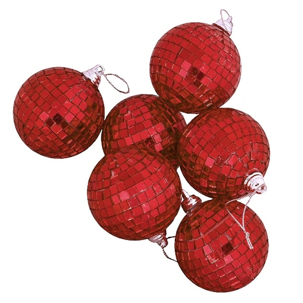 "9ct Red Hot Mirrored Glass Disco Ball Christmas Ornaments 1.5"" (40mm)"