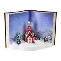 "11.5"" White Pre-Lit LED Christmas 3D Book Scene Table Top Decoration - BLue"