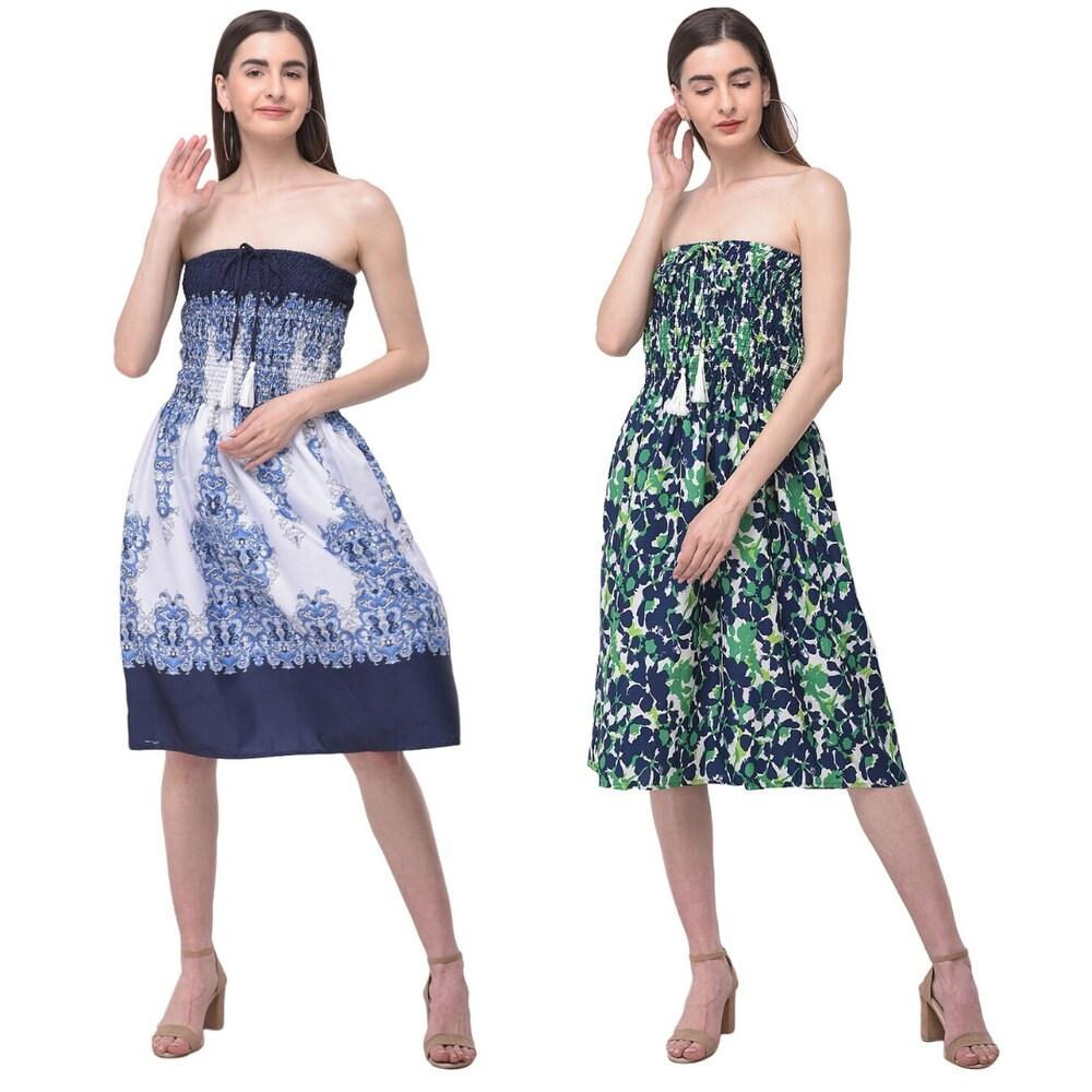 Strapless Paisley & Floral Tube Dress For Women Casual Beach Boho Wear Summer Swing Mini Dress