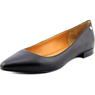 Calvin Klein Elle Women Square Toe Leather Black Flats