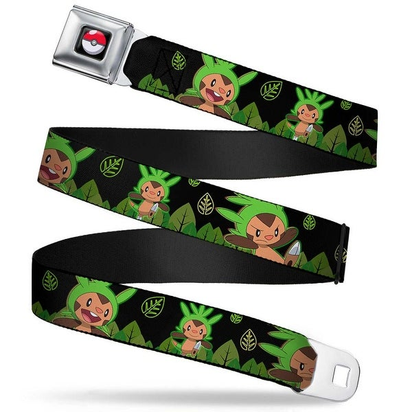 Pok Ball Full Color Chespin Poses Grass Leaves Black Greens Webbing Seatbelt Belt