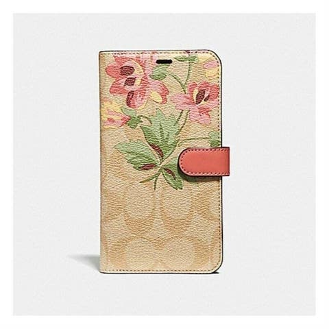 Coach Signature Canvas with Lily Bouquet Print Folio Case for iPhone X/iPhone Xs
