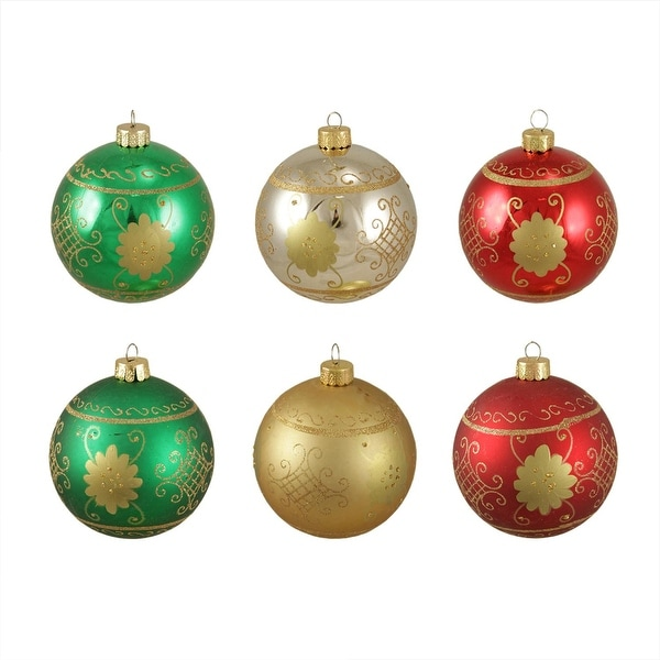 "6ct Glittered Fancy Floral Shatterproof Christmas Ball Ornaments 3.25"" (80mm)"