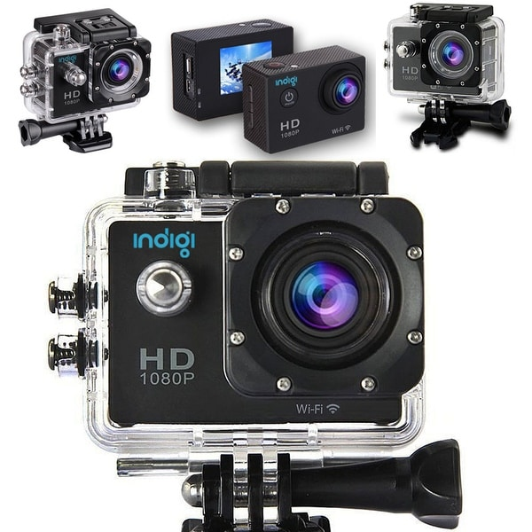 Indigi 4K Waterproof ActionCAM DVR - Built In LCD - ALL Mounts Included - WiFi Remote Sync to iOS or Android