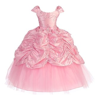 Little Girls Pink Cinderella Embroidered Pageant Dress 2T-6