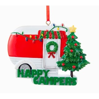 Happy Campers Red and White RV With Decorated Tree Christmas Holiday Ornament