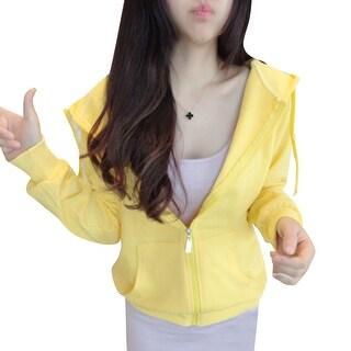 Women Raglan Sleeve Double Slant Pockets Front Zip Up Hoodies