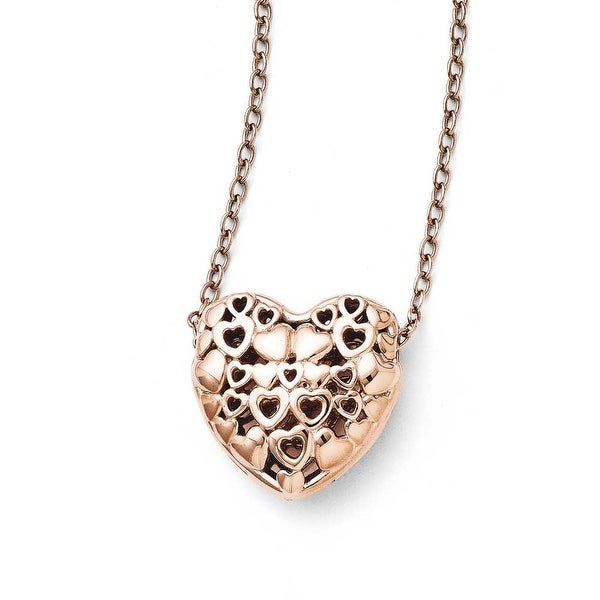 Chisel Stainless Steel Polished Pink IP-plated Heart Necklace (2 mm) - 18 in