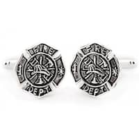 Fireman Shield Hero Career Lifesaver Cufflinks In Sterling Silver