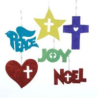 "24 Christmas Traditions Peace, Joy, Noel, Star & Cross Glitter Ornaments 5"" - multi"