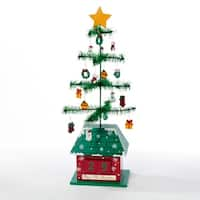 "17"" Miniature Christmas Tree with Ornaments Decorative ""Days till Christmas"" Calendar - green"