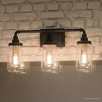 "Luxury Industrial Bathroom Light, 11""H x 21.5""W, with Shabby Chic Style, Aged Pipe Design,Antique Black Finish"