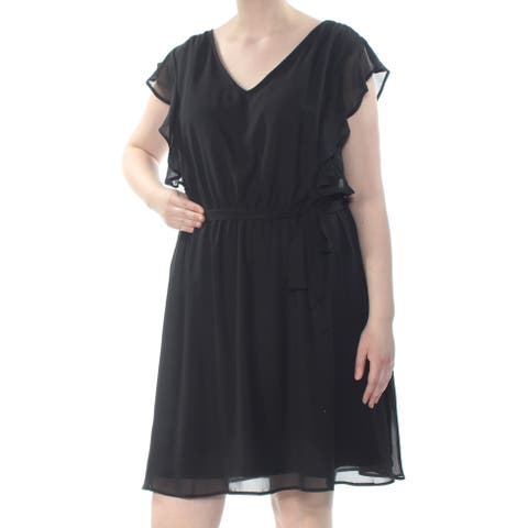LOVE SQUARED Womens Black Flutter Sleeve V Neck Above The Knee A-Line Dress Plus Size: 2X