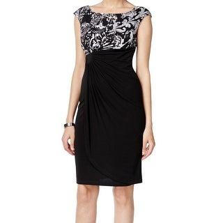 Connected Apparel NEW Black Women's Size 8 Scroll Print Sheath Dress