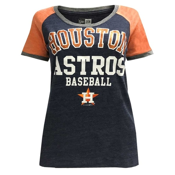 56f583e6 Shop New Era Women's MLB Houston Astros Scoop T-Shirt Glitter Logo Tee  11537344 - Free Shipping On Orders Over $45 - Overstock - 23042858