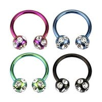 Titanium Anodized Surgical Steel Horseshoe Circular Barbell with 7-Gem Paved Balls (Sold Ind.)