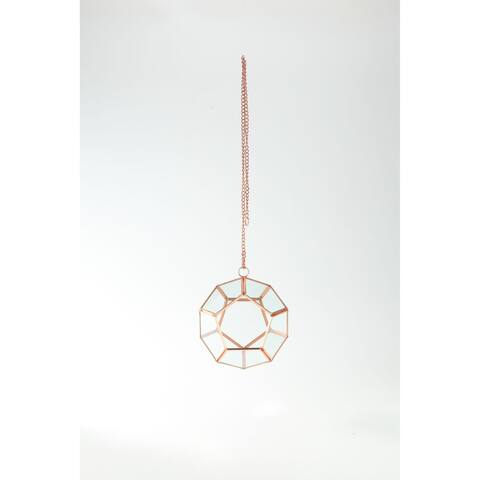 """6"""" Rose Gold Colored Pentagon Hand Blown Glass Terrarium with Chain"""