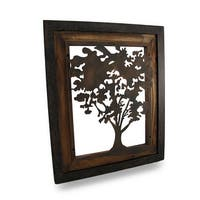 Metal Aged Finish Tree Silhouette on Wood Frame Wall Hanging