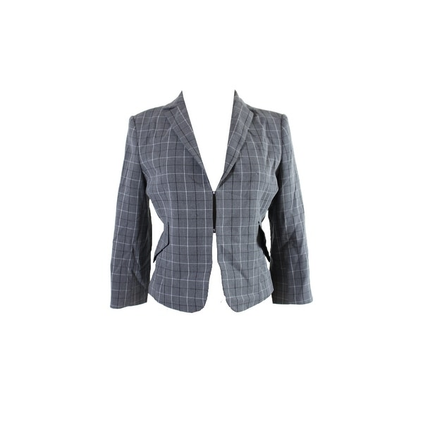 28da1ea37 Shop Tommy Hilfiger Grey Plaid Peplum Jacket - 8 - Free Shipping On ...
