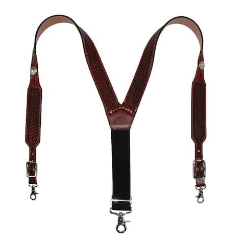 3 D Belt Company Men's Leather Hand Tooled Tan Suspenders