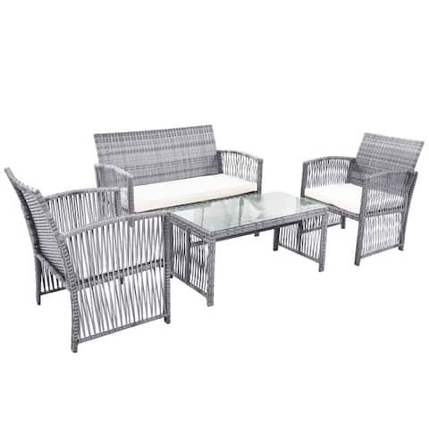 Farleigh Hungerford Wicker/Rattan 4 - Person Seating Group