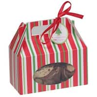 48 Red, Green & White Christmas Stripe Cookie, Candy & Treat Boxes with Handles - Multi