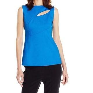 Anne Klein NEW Blue Women's Size 16 Solid Seamed Scuba Stretch Blouse