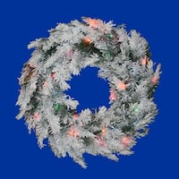 "24"" Pre-Lit Flocked Alaskan Artificial Christmas Wreath - Multi Dura Lights"