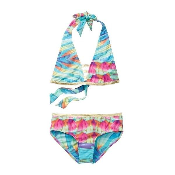 42f0b5fc75a2a Azul Little Girls Multi Color Good As Gold Halter Bikini 2 Pc Swimsuit