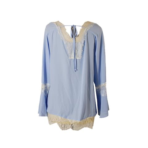 Ny Collection Chambray Blue Lace-Trim Peasant Blouse S