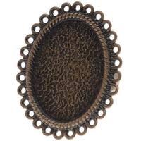Antiqued Bronze Color 34x28mm Oval Bezel Adjustable Ring (1)