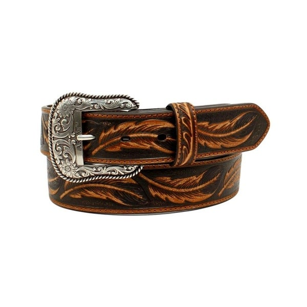 Ariat Western Belt Mens Embossed Repeating Leaf Ariat Logo