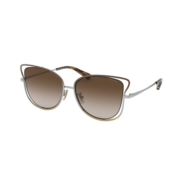 Coach HC7106 933913 55 Shiny Brown/silver/light Gold Woman Irregular Sunglasses - Brown / Silver / Gold. Opens flyout.