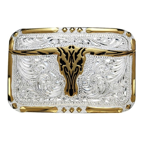 Crumrine Western Belt Buckle Longhorn Diamond Inlay Silver Gold - 2 3/8 x 3 3/8