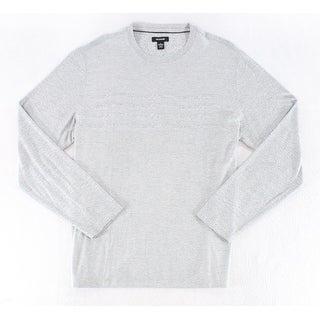 Alfani Solid Steel Gray Mens Size 3XL Striped Crewneck Sweater