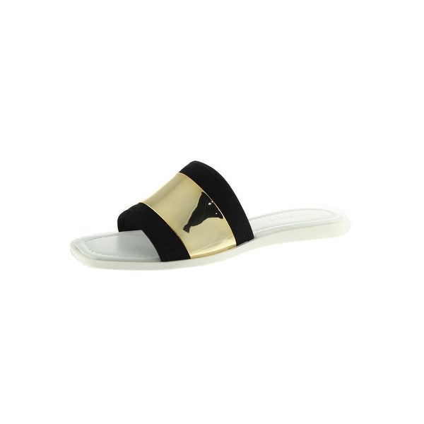 Zara Womens Slide Sandals Metallic Suede