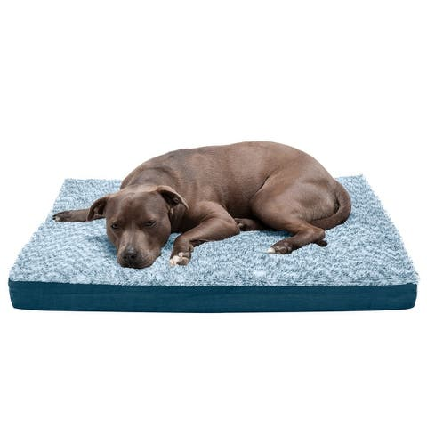 FurHaven Two-Tone Faux Fur & Suede Deluxe Orthopedic Dog Bed