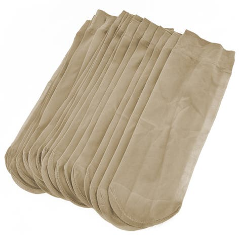 Unique Bargains 10 Pairs Soft Elastic Beige Sheer Socks for Women