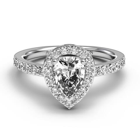 14KT Gold 1.45 CT Halo Diamond Engagement Ring Pear Cut
