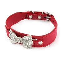 Pet Dog Faux Leather Bowknot Decor Detail Adjustable Strap Buckle Collar Red