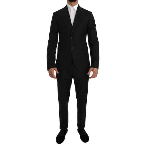 Dolce & Gabbana Green Wool Two Button Slim Fit Blazer Men's Suit