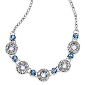Silvertone Blue Epoxy & Glass Necklace - 16in