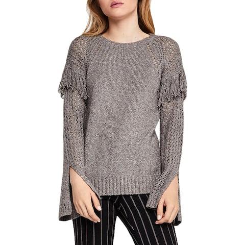 BCBGeneration Womens Pullover Sweater Fringe-Trim Flare Sleeve