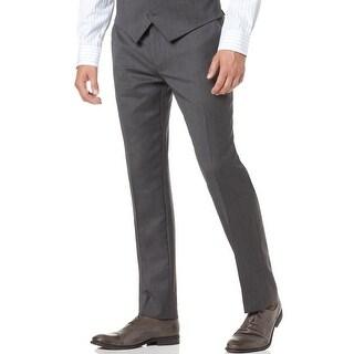 Alfani Slim Fit Mens Wool Flat Front Dress Pants Gray Sharkskin