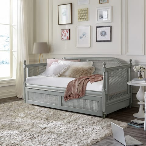 Hillsdale Furniture Melanie Wood and Cane Twin Daybed with Trundle, French Gray