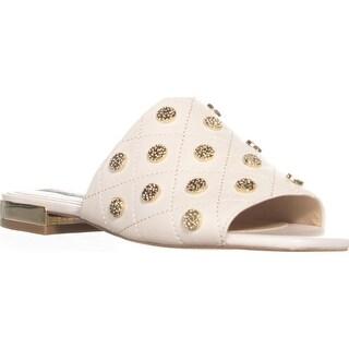 DKNY Roy Square Toe Block Heel Slide Sandals, Ivory - 6.5 us / 37 eu