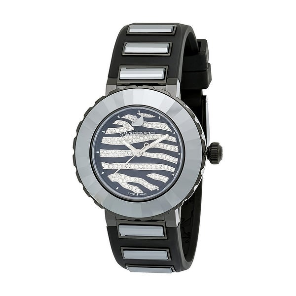 Swarovski Elements New Octea 5040563 Zebra Black PVD w/ Crystal Pave Sport Rubber Watch - black/crystal pave